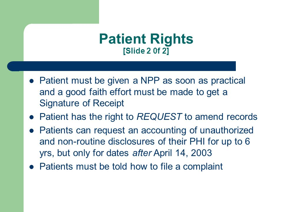 Notice of Privacy Practices (NPP) 45 CFR 164.520 [Slide 1 of 2]